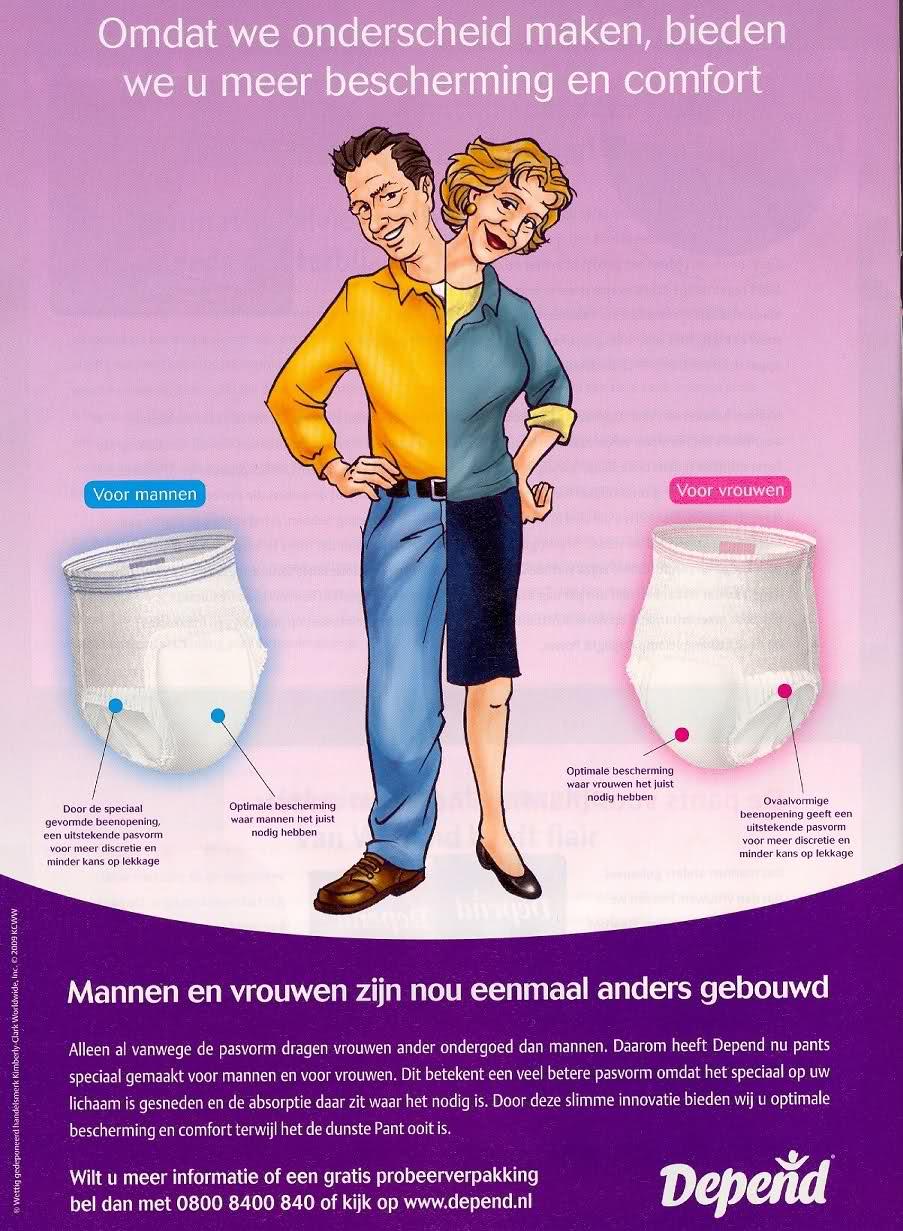 Depend Pants Luier - verschil tussen man en vrouw